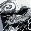 白地に墨で龍の御衣裳を制作