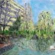 池と木々の風景