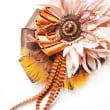 リボンと羽根のDECOラージュなコサージネックレス