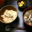 牡蠣の炊き込みごはんと根菜汁