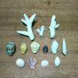 サンゴと貝殻のブローチ