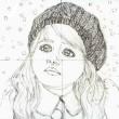 途中経過1 下描き(雪を見つめる女の子)