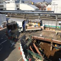 東長崎駅南口計画、2月末の工事風景