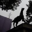 神社の馬像