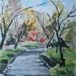 水彩画 秋の公園