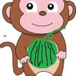 スイカを盗んだ猿が車の前に!