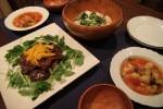 レシピ付き献立 新玉ねぎたっぷりの甘味噌カルビのせ・じゃが芋とブロッコリーのサラダ・ミネストローネ