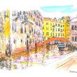 世界わがスケッチの旅.ベネチア路地スケッチ