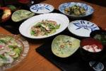 レシピ付き献立 鶏のしょうが焼きとアスパラガスのマスタード風味・鯛の桜花サラダ・あさりの酒入り他