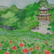 自宅で勧修寺のハスの花を写真を見ながら描く