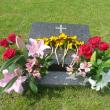 墓前礼拝の献花
