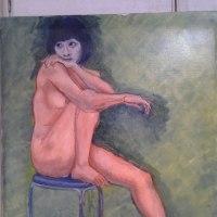 立て膝で椅子に座る裸婦02