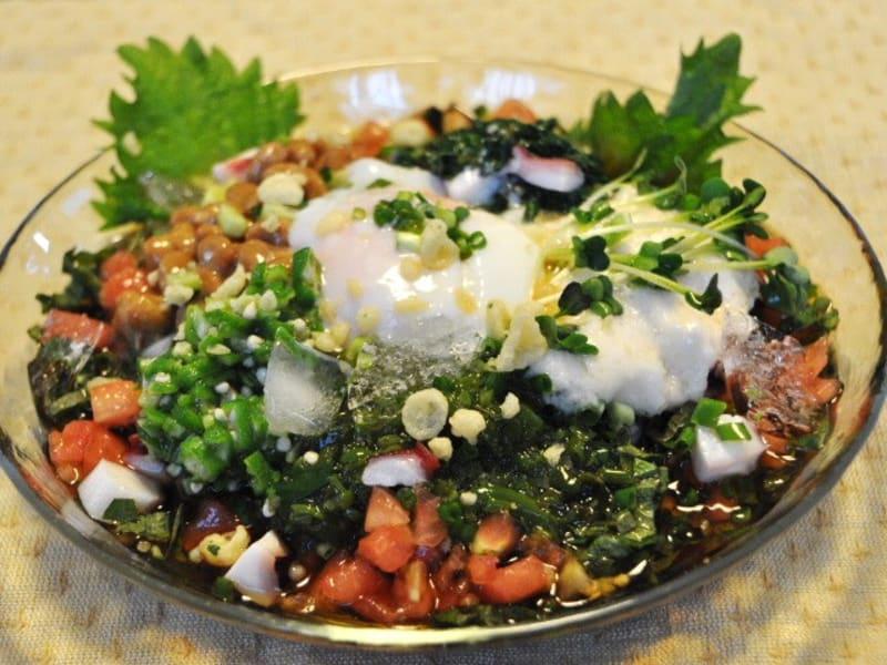 夏バテ対策レシピ スタミナうどんレシピ 冷やしネバネバうどん オクラの栄養素 モロヘイヤの栄養素