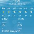 冬の上海の空は白い色
