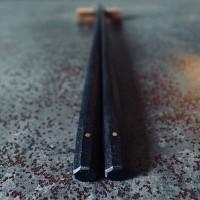 056 MARUNAO 極上十六角箸 縞黒檀