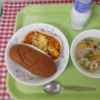 7月12日の給食 豆腐のミートソースグラタン