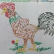 カラー切り絵   鶏