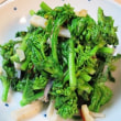 丸鯵の塩焼きと菜花のぺペロンチーノ