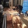 総社市中央で建て方作業中