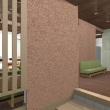 ゲストハウス設計デザインの途中「もてなしの空間」として、玄関から続くホールと一体化した場所の魅力、その視線の先に「坪庭」とつながる窓で奥行きを持たせた空間に和の精神と粋をさり気無く・・・・。
