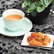 Warabi-mochi (braken-starch dumpling) as Today's sweet
