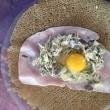 海老、アボカド、キーウイのセヴィーチェに 茸ソテーと卵を包んだ蕎麦粉クレープの献立