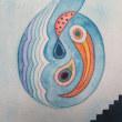 灰に少しの青を混ぜ 海の中層部 深く浅く 黄土色に