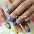 青いお花のネイル