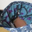 藍の型染めからタイプの違うバッグ