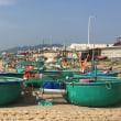 篭船で大漁する漁師  ベトナム