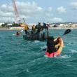 K3護岸は浅い海で工事の進行が早い。この現実を海で見てほしい。