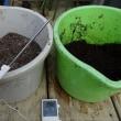 米糠配合牛ふん堆肥の加水前後の温度の違いです