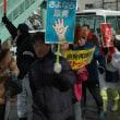 再稼働反対市民行進。行き場のない使用済み核燃料増やす再稼働はやめよ!と