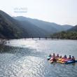 空撮 岩間の沈下橋とカヌー 四万十川の夏の風物詩