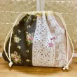 ブラウン花柄の巾着袋