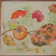 水彩画 落ち葉