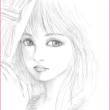 鉛筆画「帽子を脱ぐ少女」