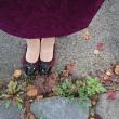 秋のスカートと靴