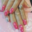 ピンク小花ネイル