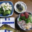7/14  ばんごはん 鯵刺身、鮎塩焼き