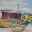「漁具倉庫-1」水彩画F4/錆の風合い/漁港の風景