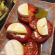 2017年8月14日 かぼちゃの浅漬け  さいき屋の出汁巻き卵  揚げ茄子の香味たれ   ワカメ入りレタスサラダ