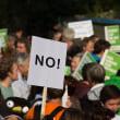 アイルランド(Ireland): Large group of people gather to protest