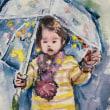雨の中孫2歳