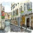 水彩画・ベネチュアを描く 7  カナルのT字路  360×260