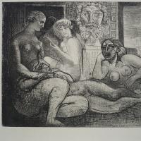 ピカソ 「4人の裸婦と顔の彫刻」