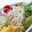 スクランブルエッグと野菜のとセット