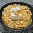 あんかけ豆腐を玉子とじにゅうめんに乗せる朝