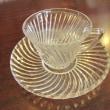 デミタスカップ&ソーサークリアガラススワールデザイン/Federal