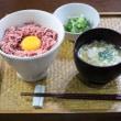 椎茸料理二種とコンビーフ丼